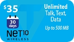 Net 10 $35 Unlimited Talk, Text, MMS, Web