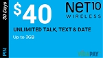Net10 30 Days Unlimited Talk, Text & Data