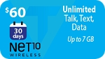 Net10 Unlimited Talk, text & data up to 7 Gb high speed