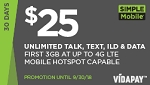 Simple Mobile $25 Unlimited
